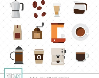Coffee clipart, coffee maker clipart, coffee beans clipart ,Vector graphics, Digital Clipart, Digital Images, CL 061
