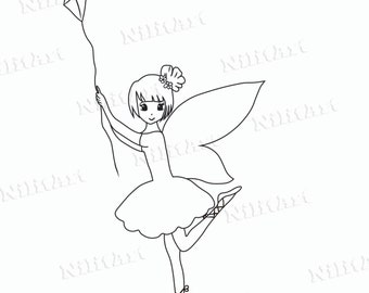 Kite Digital Stamp, Digi Stamp, Kite stamp, Coloring Page, Girl, Fantasy, Adult Coloring Page NilitArt IMG 005