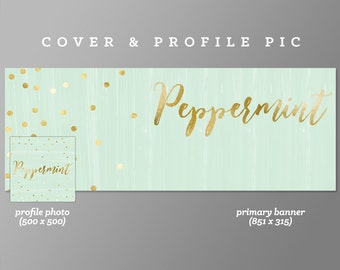 Pink Timeline Cover + Profile Picture 'Peppermint' Cover, Profile Picture, Branding, Web Banner, Blog Header | Grenn and gold foil spots