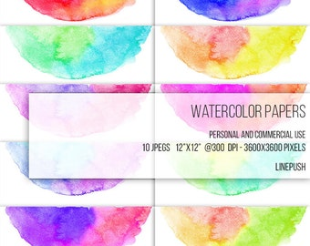 SALE! Watercolor papers. Watercolor headers, footers, borders, letterheads Digital papers Rainbow colors, pastel. Scrapbooking Stationery
