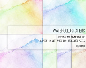 Sale! Gradient stained watercolor paper. Digital Paper. Scrapbooking paper. Wallpaper. Printables. Backgrounds. Pastel paper. Card paper.