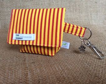 Yellow and Red Stripe Pattern Dog Treat Pouch/ Waste Bag Carrier