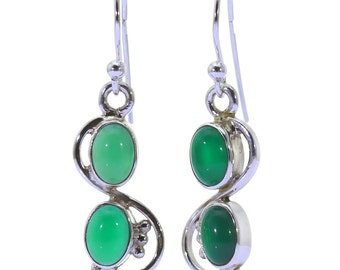 Green Onyx Earrings, 925 Sterling Silver, Unique only 1 piece available! color green, weight 3.9g, #37414