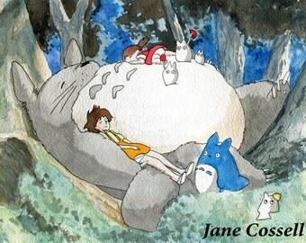 Small print - My Neighbor Totoro watercolour painting