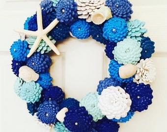 Beach Cottage Wreath, Shabby Chic Beach Decor, Pinecone Zinnia Wreath, Coastal Wreath, Nautical Wall Decoration, Starfish & Sea Shells Decor