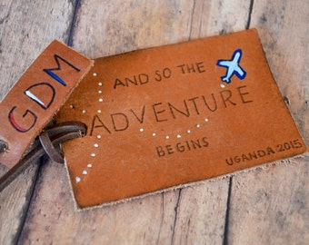 Custom Leather Luggage Tag - Personalized Luggage tag - Initials leather luggage tag - airplane tag
