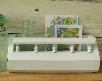 White Letter Holder Wall Caddy, Shabby Chic