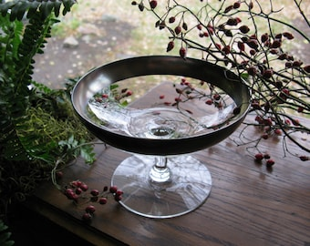 Pedestal Dish Silver Rimmed Compote, Candy Dish, Footed Compote