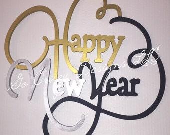Custom wooden Happy New Year door hanger