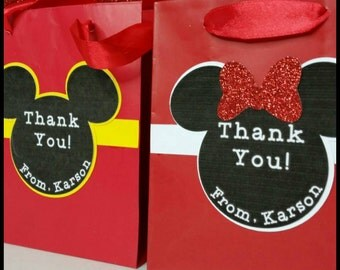 10 Personalized Mickey or Minnie Inspired Favor Bags