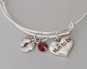 BABY Feet / MUM To Be  Charm W/ Birthstone Crystal/  New Mother Adjustable Silver Bangle  / Baby Shower Gift  - Under 20  Usa  NM1