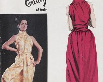 Vintage 60s Vogue Couturier Design 1393 Galitzine Wrap Halter Culotte Sewing Pattern Size 10