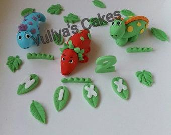 3 Edible handmade dinosaurs cake topper,name,age,birthday decoration,sugarpaste,boy,girl