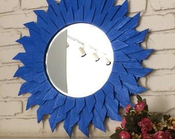 Sail Blue Sunburst Wall Mirror Handmade