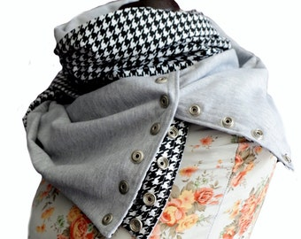Houndstooth and gray scarf, full-year snap scarf, cowl neck scarf with press studs