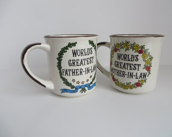 "Set of 2 funky diner-style vintage ""Greatest In-Law"" mugs"