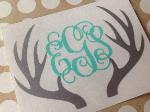 deer antler monogram antler monogram decal by mmvinylcreations