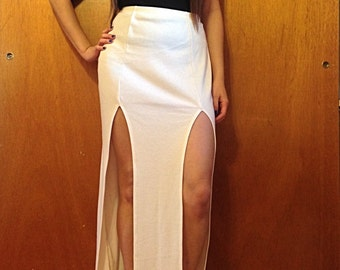 Double Front Slit Maxi Skirt
