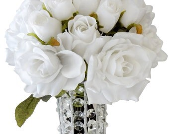 "13"" White Silk Rose Bouquet X 18 (Pack of 2)"