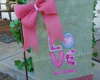 """Valentine's Day """"Love"""" Hearts Burlap Garden Flag, Spring Decor, Pink, Chevron"""