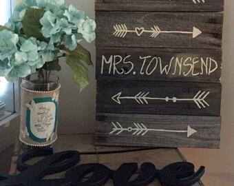 Reclaimed Wood Teachers Name Sign