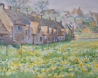 Cotswold Watercolour painting, Original Vintage English cottage painting, Cotswold Village Watercolour, English Art,