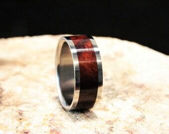 Jarrah Burl wood inlay and Titanium ring, Burl wood inlay ring, Jarrah Burl ring,burl ring, wedding band,wood inlay ring handmade ring