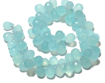 Aqua Chalcedony Briolette Beads, Tear Drop Beads, Faceted Gemstones, 8x11mm To 6x9mm Each, 5 Inch Half Strand, SKU-Ms83/1