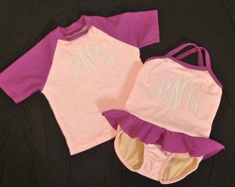 Girls Pink Monogram Swimsuit