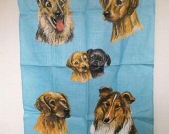 Vintage Linen Tea Towel. Guide Dogs For The Blind. Pure Linen Kitchen Cloth. Dog Tea Towel