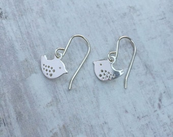 Simple Birdie Sterling Silver Dangle Earrings – Bird - Mini - Sterling Silver – Wire - Earrings - Everyday Wear - Gift