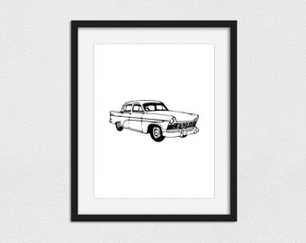 Classic Thunderbird Printable // Instant Download // Printing Services Available // Foil Printing Available // Classic Cars Printable