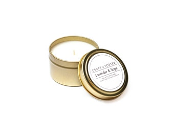 Lavender & Sage Natural Soy Wax Candle - 6oz Tin