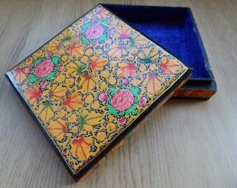 Flowered Handmade Kashmiri Jewellery Box