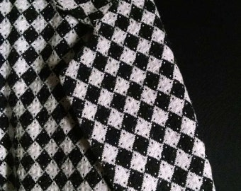 New Orleans Harlequin Blazer / Black and White Checked Diamonds / Purchased at Mardi Gras in 1990 / Great Condition / Square Cut / Pockets