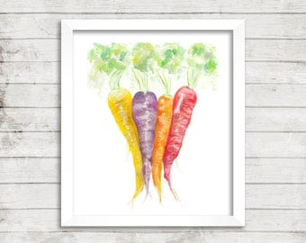 Carrot Clan - Giclée Print. Kitchen Art. Watercolor Art. Archival Print. Veggie. Vegetables.