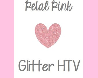 "Petal Pink Glitter Heat Transfer Vinyl 12x20"" Sheets Glitter HTV Pink Glitter HTV"