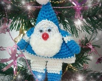 Crochet Santa Claus handmade Christmas Ornaments Blue Tree Decoration