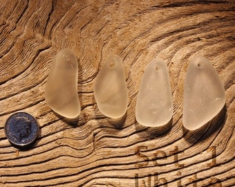 Seaham and NE Coast - White Hand Carved Sea Glass Pendants (set of 4)