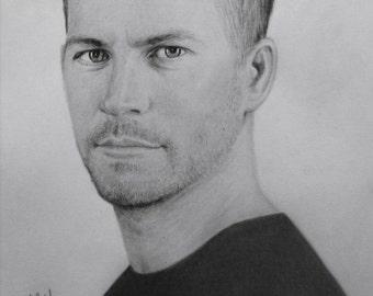 Original Pencil Drawing - Portrait of Paul Walker
