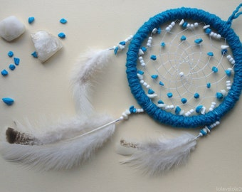 Blue dreamcatcher with stones and beads