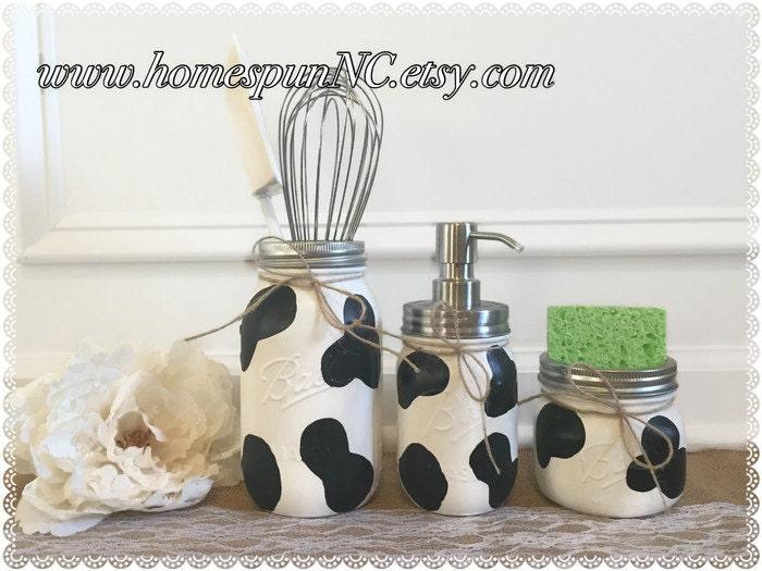 Cow Print Mason Jar Kitchen Decor Set Kitchen Decor Cow