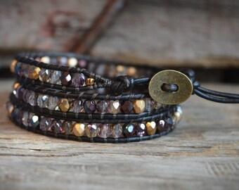 Boho Style Wrap, Leather Beaded Bracelet, Wrap Bracelet, Leather Wrap Bracelet, Bohemian Bracelet, women's wrap bracelet, Triple wrap