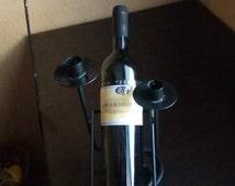Vintage metal wine holder and candlestick, wine stand, wine holder, metal candlestick,