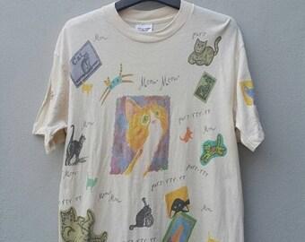 Sale jun Vintage 90's Pop Art Full Print Cat Lovers Meow Cartoon Usa Biege T Shirt Size M