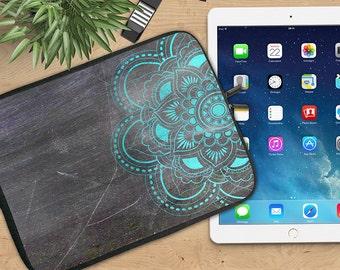 Mandala Ipad Sleeve, Blue mandala on Chalkboard Neoprene Tablet Sleeve, Ipad Sleeve, Ipad 2/3/4, Ipad Air Sleeve, Tablet Travel Case