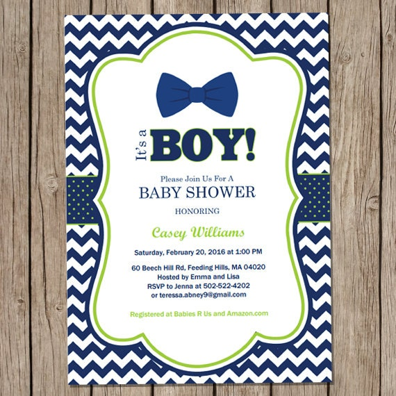 Bow Tie Baby Shower Invitation Little Man Invitation Oh Boy