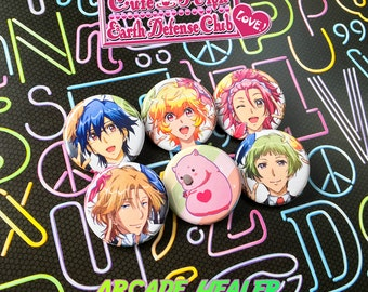 Cute High Earth Defense Club Love! Pinback Button Set!
