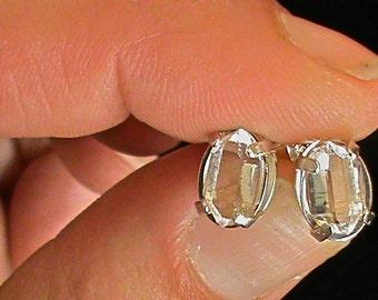 6 x 8 mm - High Quality NY Herkimer Diamond Quartz Crystal Stud Earrings - Herkimer Diamond Jewelry - Herkimer Jewelry - Herkimer Diamond