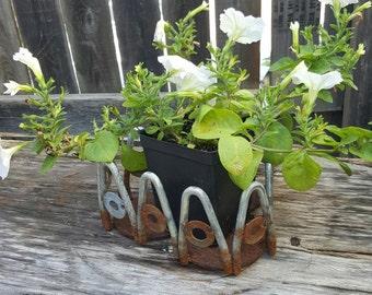 Vintage Upcycled Flower Pot, Garden Decor, Metal Art, Garden Art, Reclaimed, Repurposed Metal Art, Upcycled, Welded Art, Upcycled Yard Art
